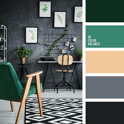 графитовый серый, изумрудный цвет, оттенки изумрудного цвета, палитра для дизайна интерьера, почти-черный, светло оранжево-коричневый, тёмно-зелёный, темно-изумрудный цвет, темно-серый цвет, цвет зеленого бархата, цвет светлого дерева, цвет хвои.