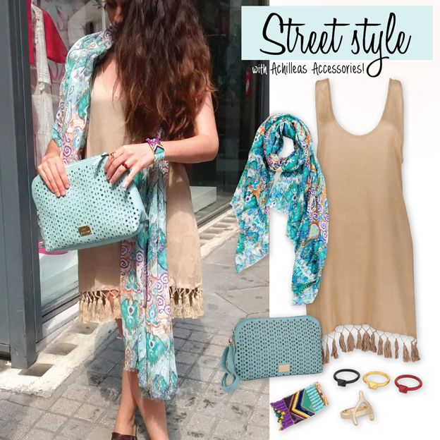 Street style με Achilleas Accessories σε beige και ciel αποχρώσεις! #achilleas_accessories #street #style #ss2014 #summer