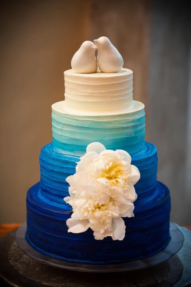 blue ombre wedding cake with white garden roses & bird cake toppers