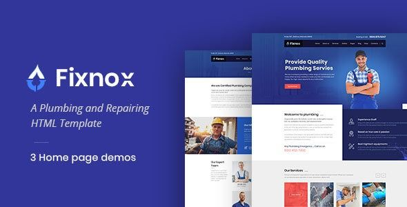 Fixnox Plumbing Html Template Wordpress Theme Plumbing Companies Wordpress