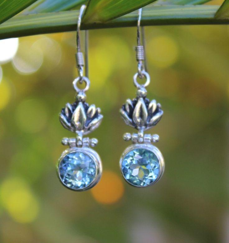 Blue Topaz brilliance - Dancing Flower earrings. www.opusjewels.com.au