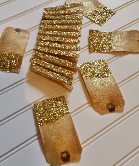 Set of 5 Sparkly Gold Glittered Clothespins by FoothillCrafters, $5.99