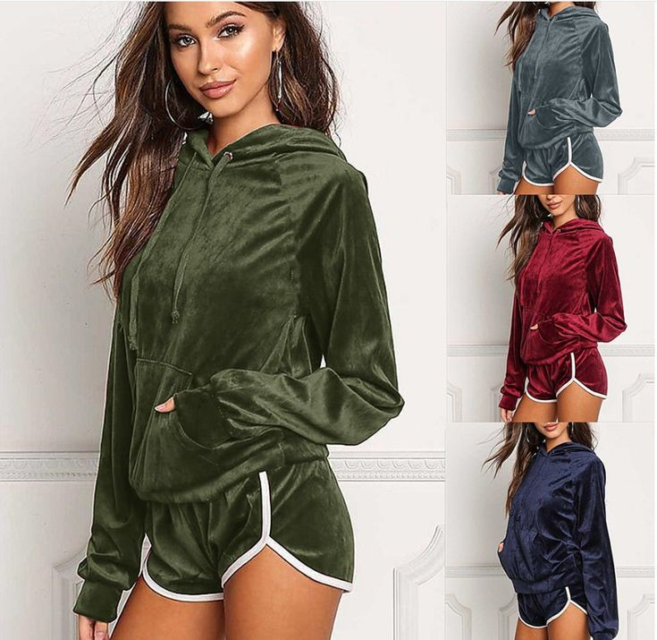 4FSGLOBAL Fashion Sportswear Autumn Gold Velvet Tracksuit Women Two Piece Set Hooded Hoodies +short Pants Casual Sporting Suits