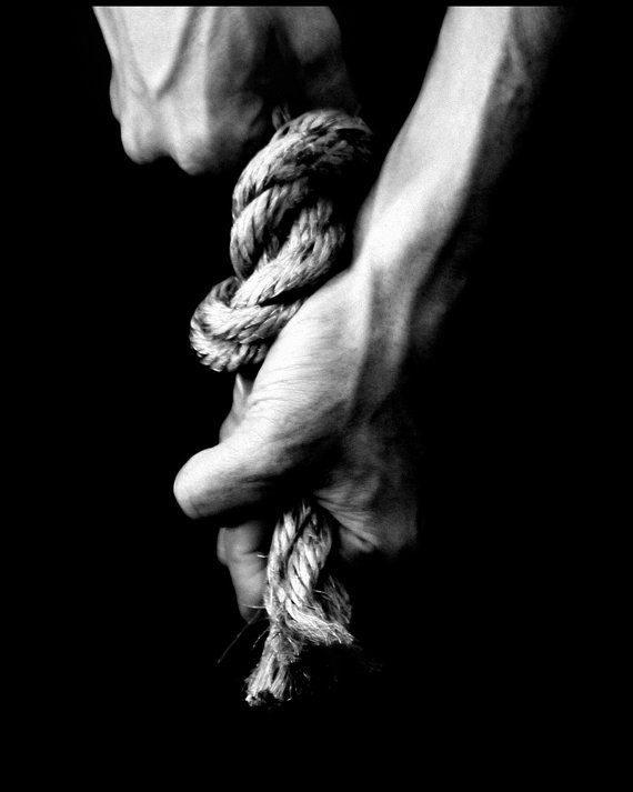 black and white photograph, fine art photography conceptual photography, female hands, rope, woman via Etsy