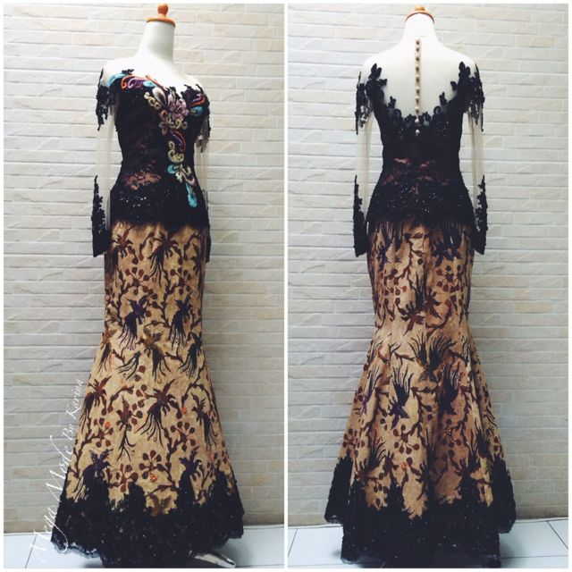 Batik dress with lace and emboidery details , custom made by Mega Mode by Karina