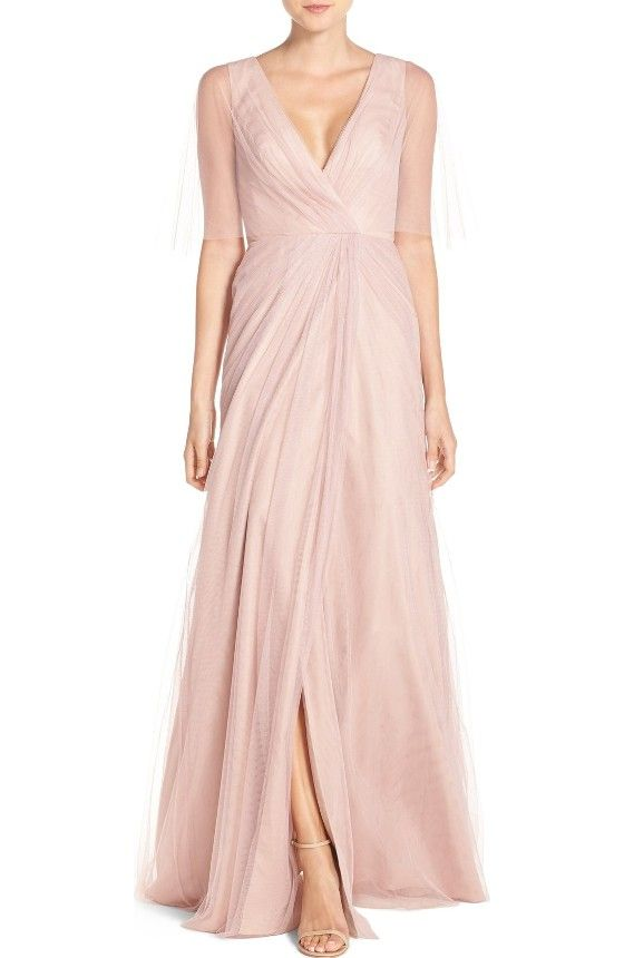 Free shipping and returns on Monique Lhuillier Bridesmaids One-Shoulder Tulle Trumpet Gown at Nordstrom.com. A gorgeous tulle gown begins with a filmy swath over one shoulder before the fitted and wrapped bodice gives way to a flowing, floor-sweeping trumpet skirt.