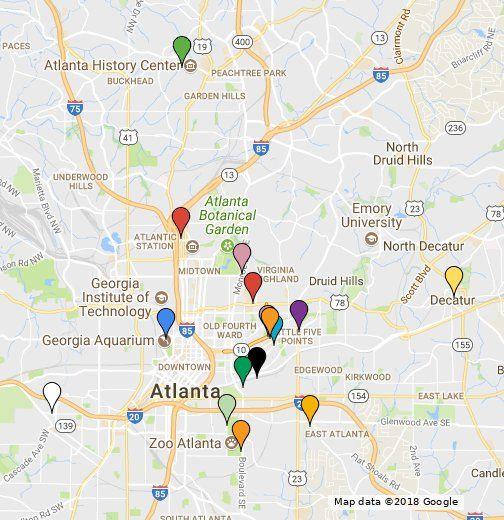 Interactive Map Of Georgia.Tiny Doors Atl Map Google My Maps Georgia In 2019 Map