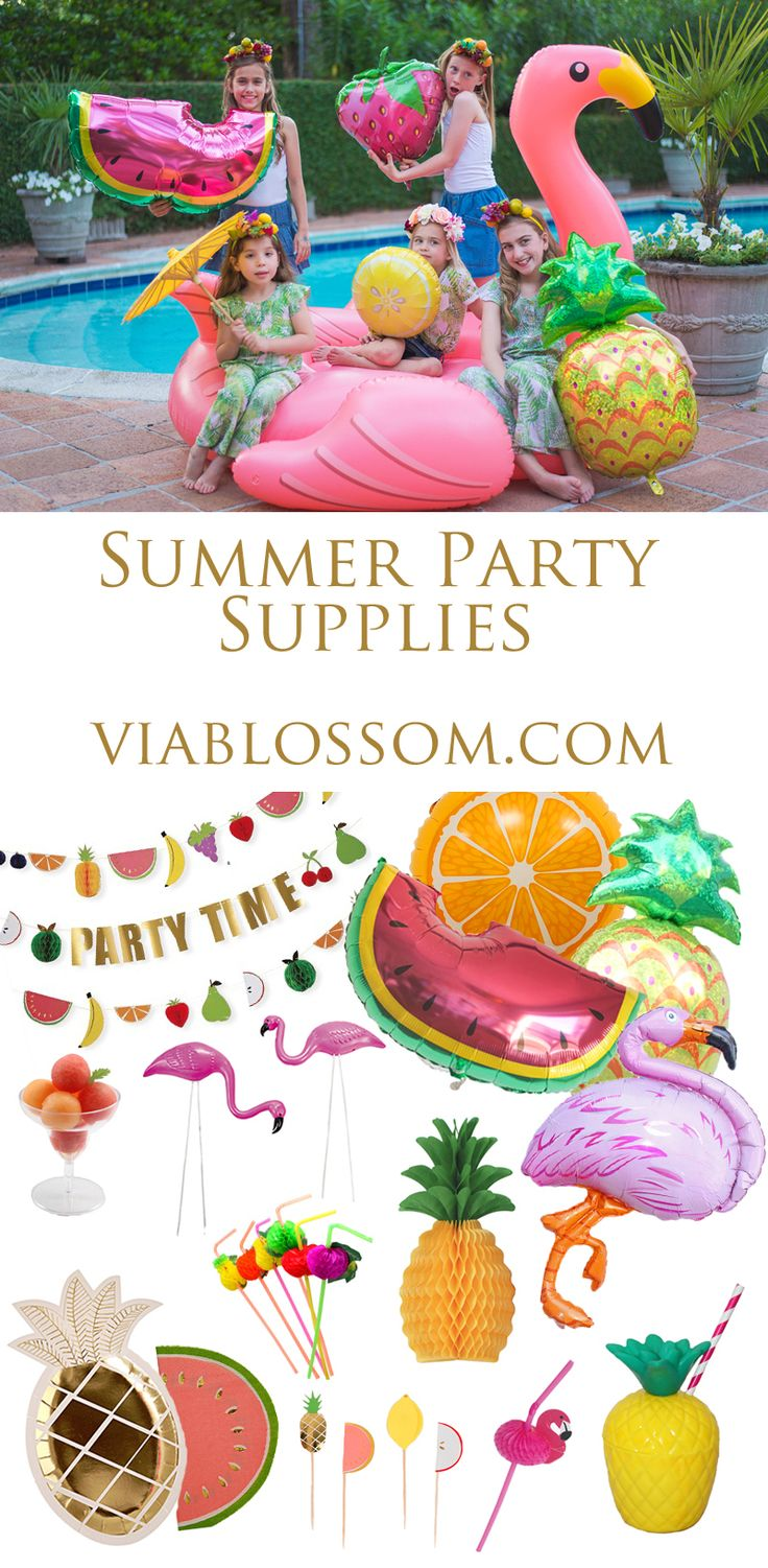 Flamingo Party ideas on the Via Blossom Blog!  Everything you'll need for a fun Tropical Party or a Summer Party or a Tutti Frutti Party!  Where to buy all your Party Supplies!