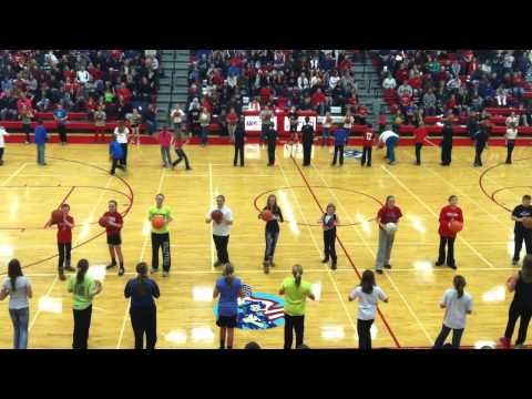 85+ 5th and 6th graders bouncing basketballs to the beat at half-time of the boys BB game on Jan. 24th, 2013.  They rocked the floor tonight!   Kristin Lukow - director.  Music by Zombie Nation, Kernkraft 400.