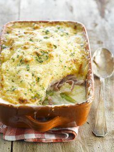 Recette de Parmentier de jambon et poireaux. Il vous faut : beurre, champignons de Paris, jambon blanc, oignons, poireaux, pommes de terre, paprika, sauce soja