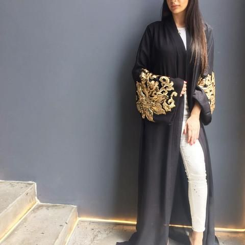 Black Abaya with Gold Sequins - Haute Elan