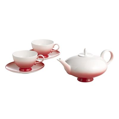 Auratic 15-00331 Aladdin Tea For 2 Set #home decor sale & deals Color:Red Aladdin Tea For 2 Set Nick Munro for Auratic Aladdin Collection on Bone China features modern coupe shape dinnerware design with graduated o...