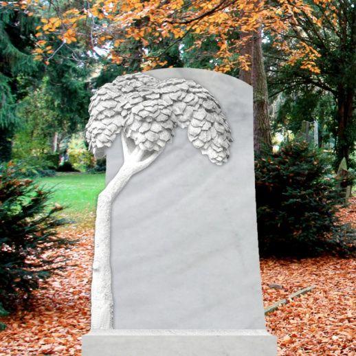 Schöner Grabstein aus Marmor mit Baum Motiv • Qualität & Service direkt vom Bildhauer • Jetzt Grabstein online kaufen bei ▷ Serafinum.de