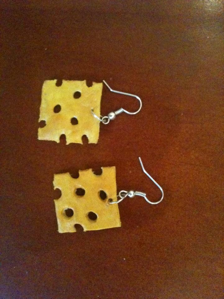 Cheesy earings made out of salt dough