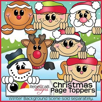 Christmas Page Toppers contains 7 different Christmas themed clip art images in color and the same 7 in black and white.  Create fun Christmas worksheets, crafts, posters etc.  These images are approx. 6 inches across so will fit on a letter size page perfectly.