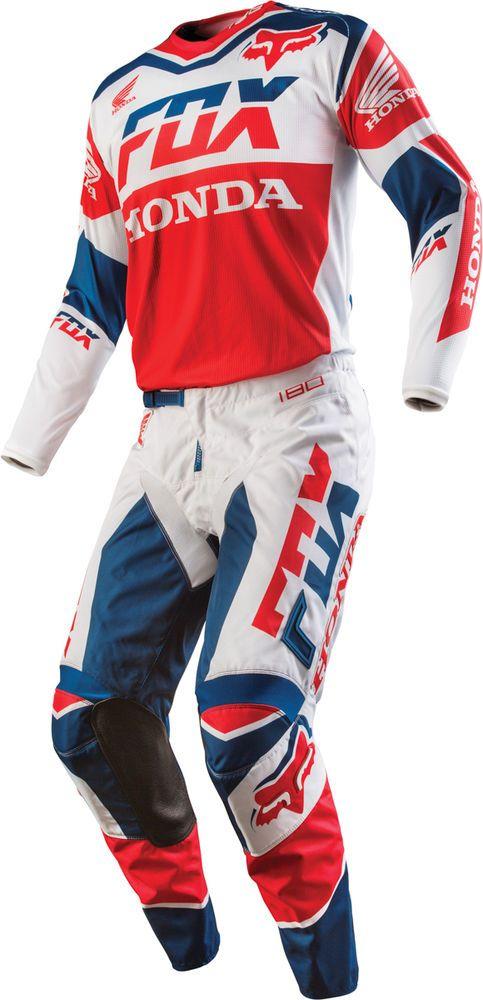 NEW 2016 FOX RACING 180 HONDA GEAR MX DIRTBIKE GEAR COMBO JERSEY PANT WHITE #FoxRacing