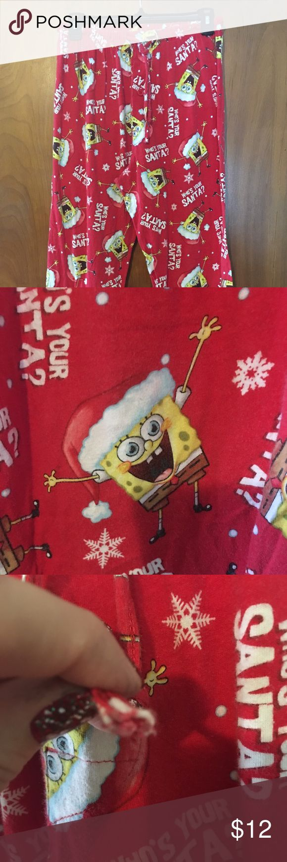 Nickelodeon Spongebob Santa Pajama Pants Mens Sz M Nickelodeon Spongebob Whos Your Santa Red Pajama Pants Mens Sz M. Good preowned condition. Minor loose strings. One drawstring missing tie tip. See photos.   Measurements: (approximate)  Length: 36 inches  Hip: 24 inches (double for complete around measurement)  Waist: 14 inches unstretched (double for complete around measurement)  Inseam: 27 inches Nickelodeon Pants Sweatpants & Joggers