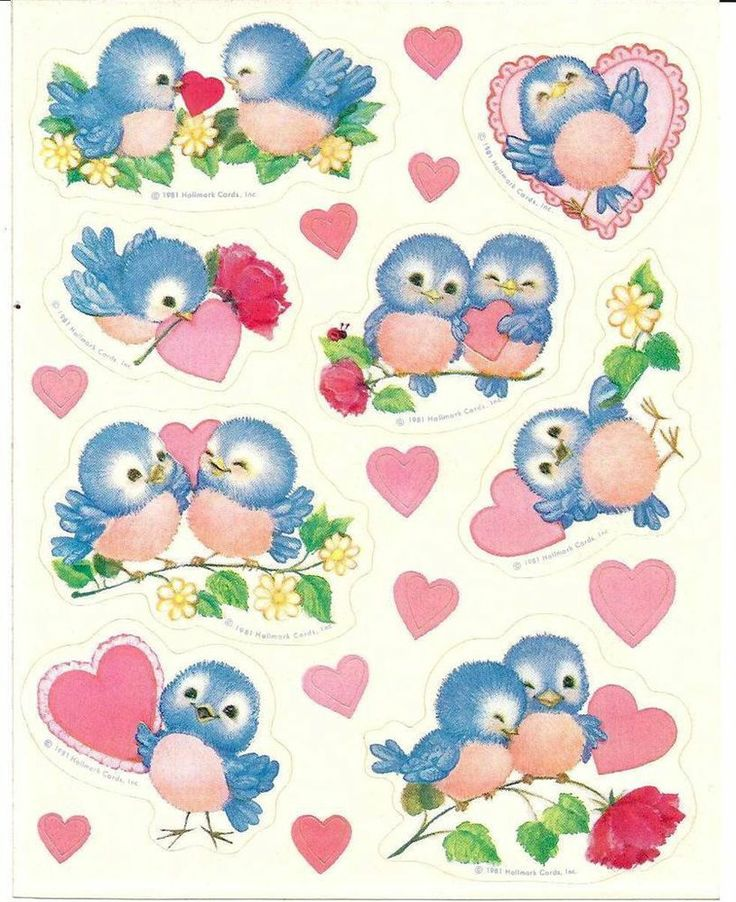 VINTAGE - DARLING BLUE BIRDS w/Pink Hearts - ONE Sticker Sheet - NEW - HALLMARK