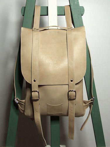 Бежевый рюкзак из гладкой кожи. Colorful leather backpack rucksack Kokosina