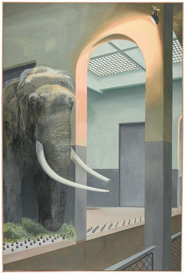 Gilles Aillaud, L'Eléphant, mars 1971 Huile sur toile, 300 x 200 cm Pompidou