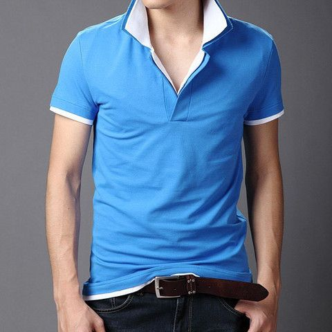 Double Layered Turn Down Collar Short Sleeve Color Block Slimming Cott – teeteecee - fashion in style