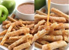 Ideaal en lekker voor de herfst dagen: Appeltaart patat(of frietjes?)