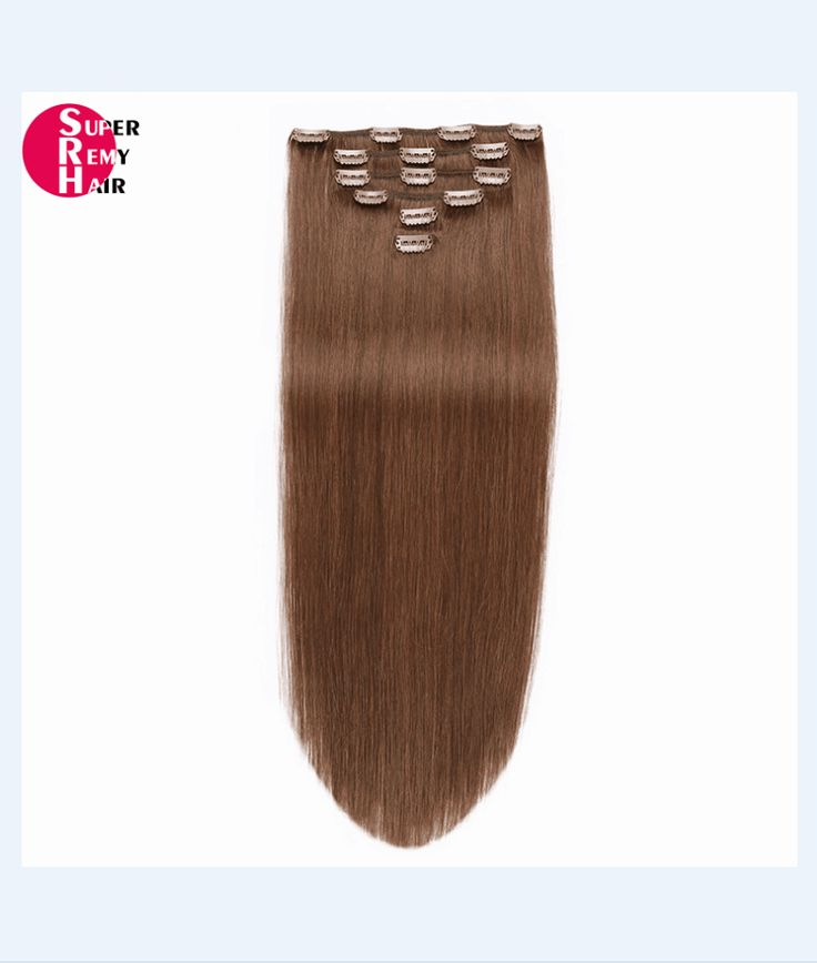 Clip in hair extensions 9A grade 100% human hair extensions 12-30 inch dark color