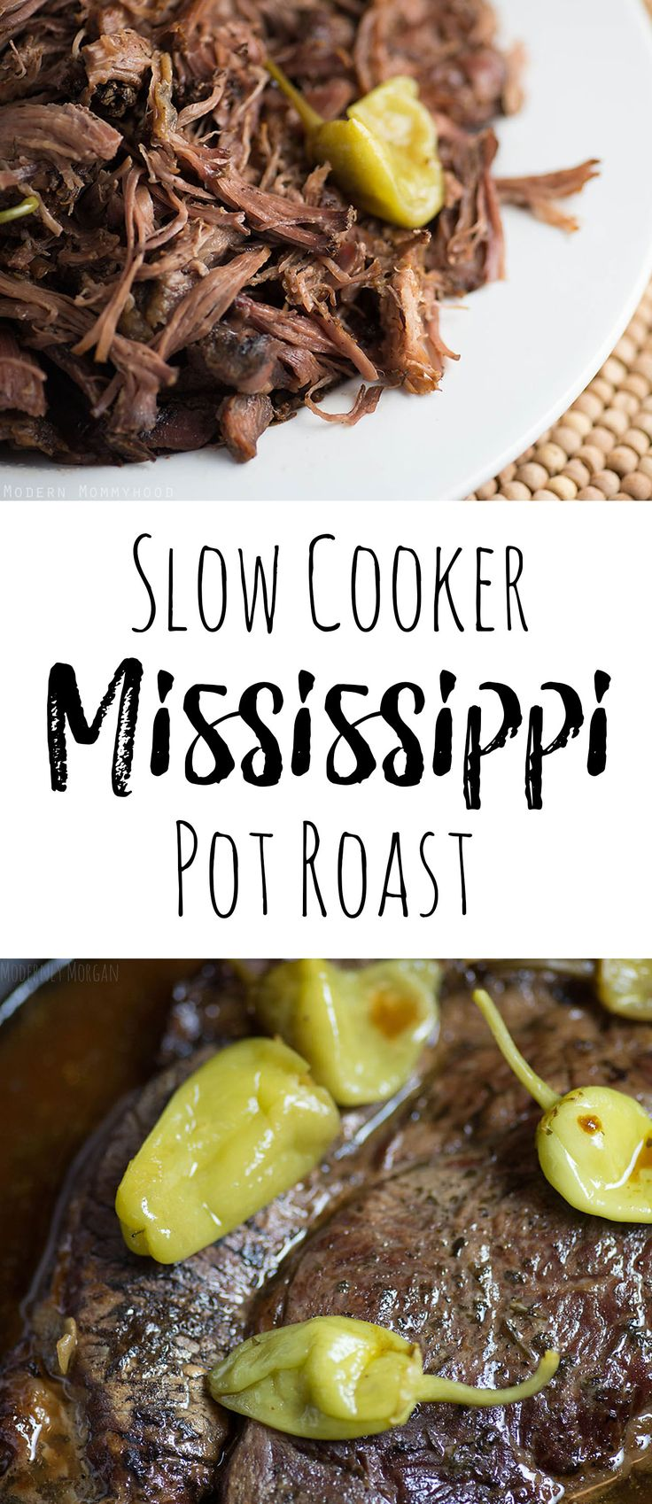 Slow Cooker Mississippi Pot Roast - The most juicy and flavorful roast recipe you'll ever make! Plus it's one of the easiest slow cooker meals to prepare!