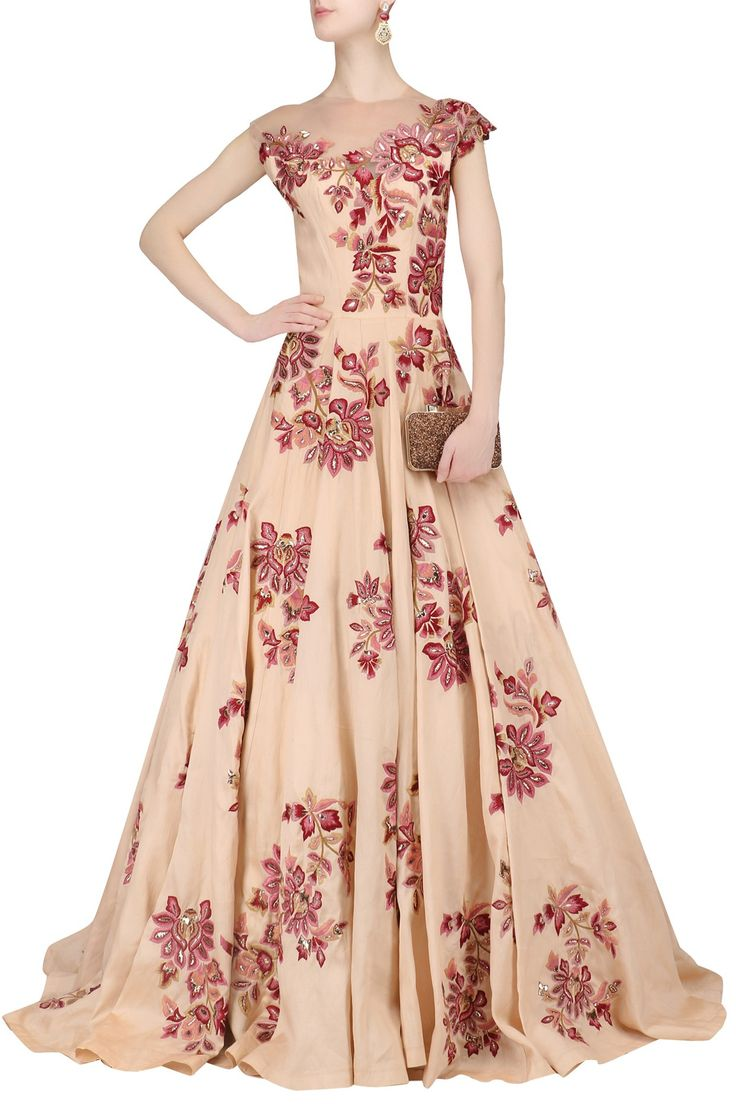 Featuring A Peach Gown In Organza Fabric With Multi Colour