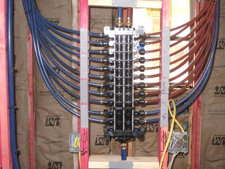 Cross Linked Polyethylene Pex Plumbing System 24 Port Manifold In The Utility Room On The West Side Of The Kitch Pex Plumbing Plumbing Heating And Plumbing