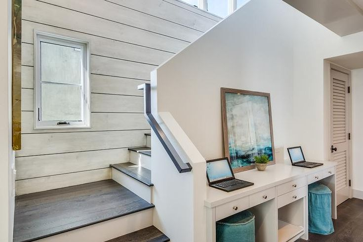 Office Foyer Seating : Get productive in this beach style foyer boasting a white