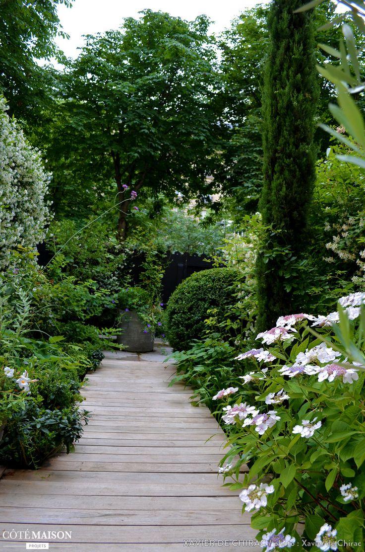 Un jardin au coeur de Paris ou épanouissent des hortensias, des iris du Japon, du jasmin, des rosiers...