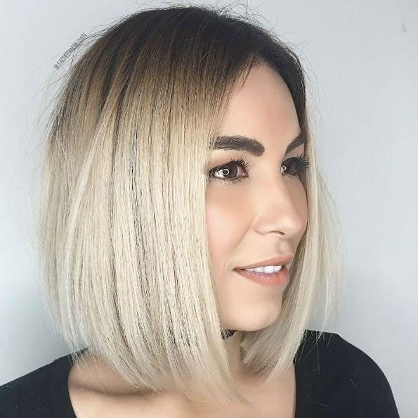 Rooty blonde lob by Jamie Gomez