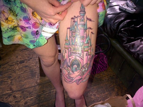 cinderella's castle tattoo- I would never get a tattoo this big, but I love Disney tattoos :)