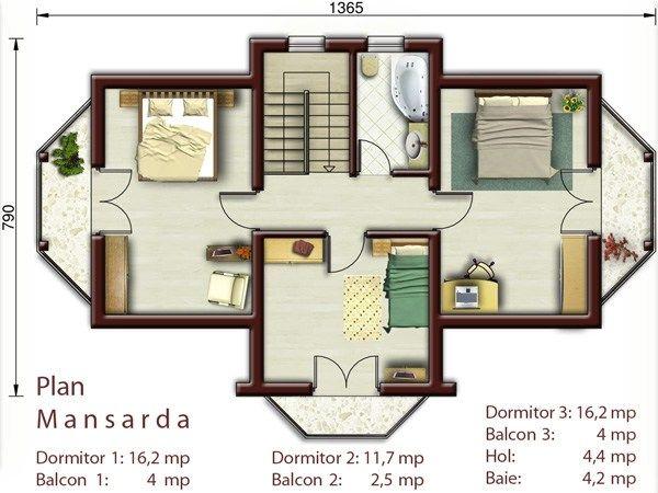 case mici cu trei dormitoare 3 plan etaj
