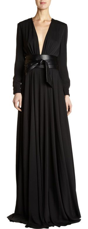 Although its from the Spring Collection... Saint Laurent Belted Gown can carry through to the Fall.