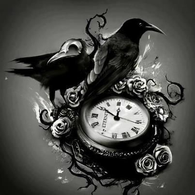 Crows mean: fearless, audacious, intelligent, adaptable. A higher perspective. The clock represents time but can also mean life. (Idea: the hands on the clock being stopped at a significant time)