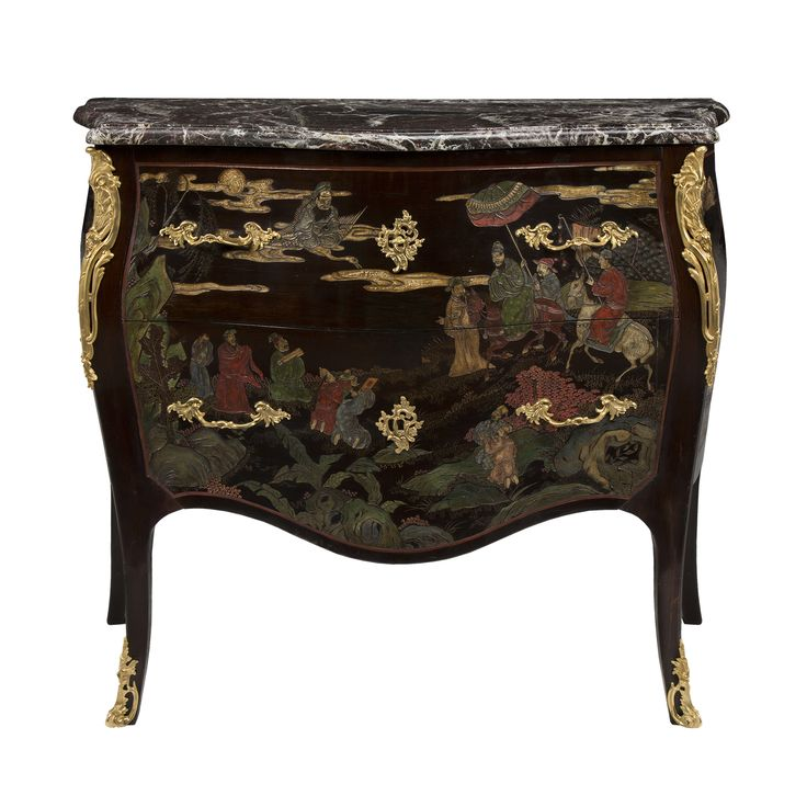 A French 19th Century Louis XV St. Coromandel Two Drawer Bombee Shaped Chest