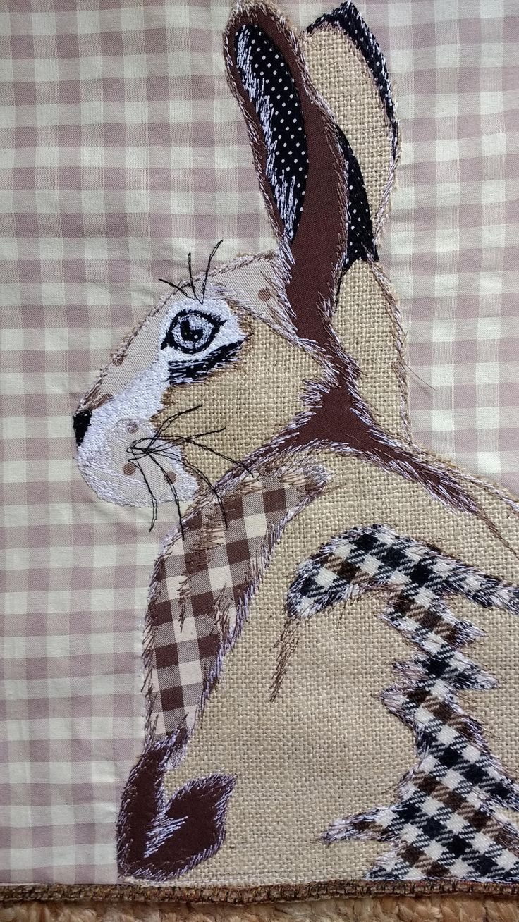 Patchwork free motion embroidered rabbit/hare cushion by PaddyMacDesigns on Etsy