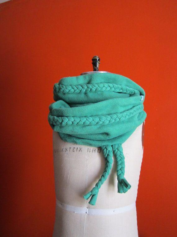 Hemp & organic cotton infinity scarf with braids for kids-emeraude by Asanoha