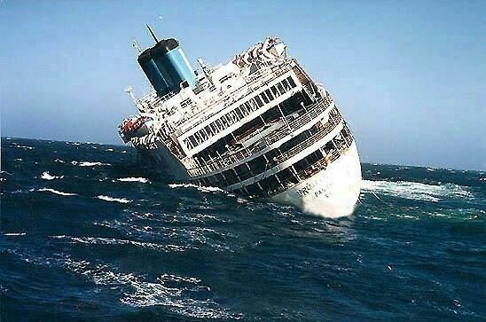 One of the oldest existing passenger ships, 26,000-ton Britanis, sank 50 miles off the coast of Cape Town, South Africa, on Oct. 21.  The aged liner left Salvador, Brazil, earlier last week under a tugboat's tow, and was headed for a scrap yard in India when it developed a leak in the aft section.