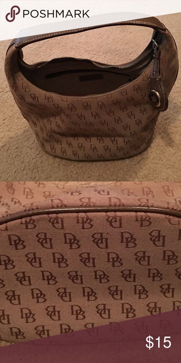 Tan with brown DB. Leather handle and trim. See title.  This is a small sized bag.  Good condition. Dooney & Bourke Bags