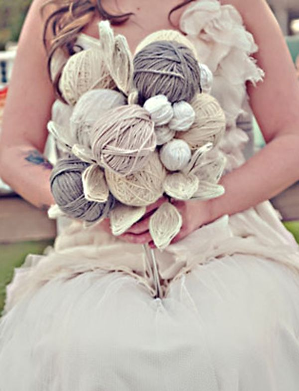 This is clever! Yarn #wedding #bouquet - LINDSEY RUNYAN!!!!! @Lindsey Runyan