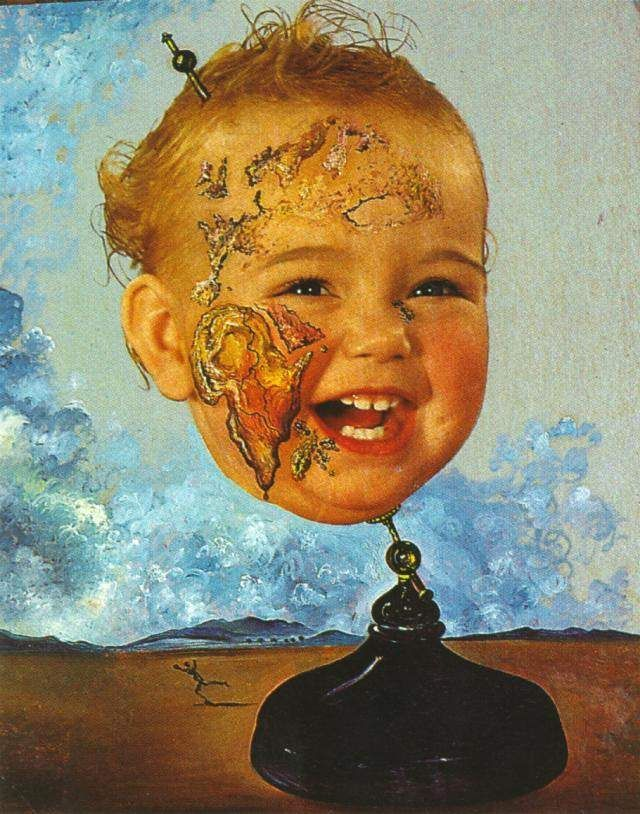 Salvador Dali >> Baby Map of the World, 1939  |  (Oil, artwork, reproduction, copy, painting).