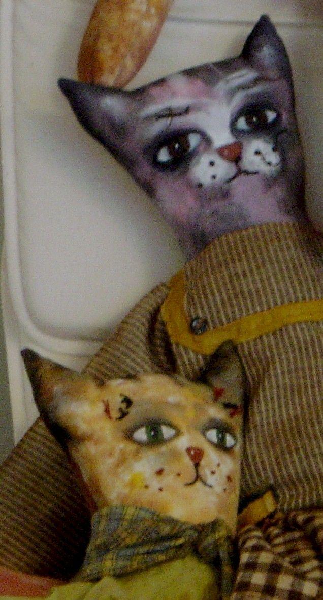 ζωγραφική σε ύφασμα, από ΧΕΡΟΚΑΜΩΤΟ- όμπρα, vintage γάτες