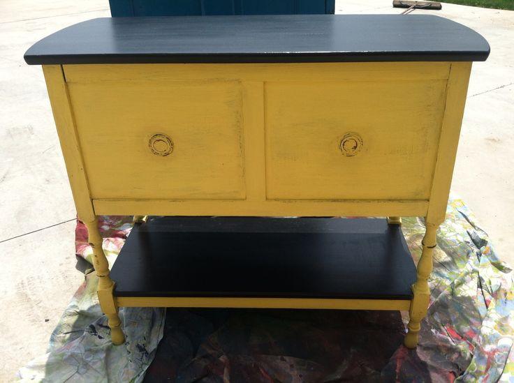 Cece caldwell carolina sun yellow with black top for Furniture 0 interest