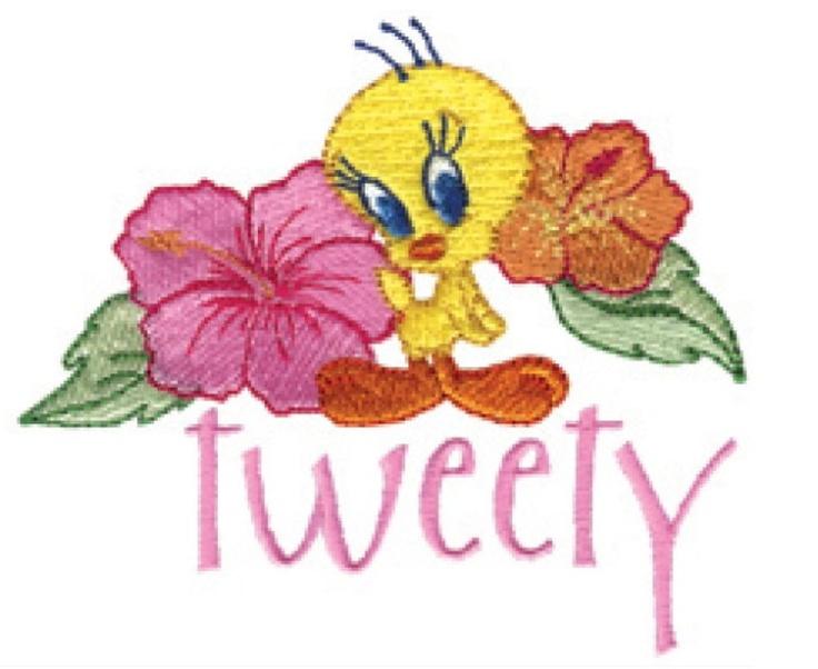 Photo of Tweety Bird Hibiscus Hawaiian Machine Embroidery