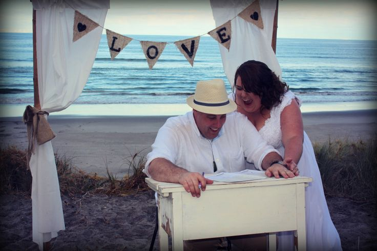 Beach wedding signing