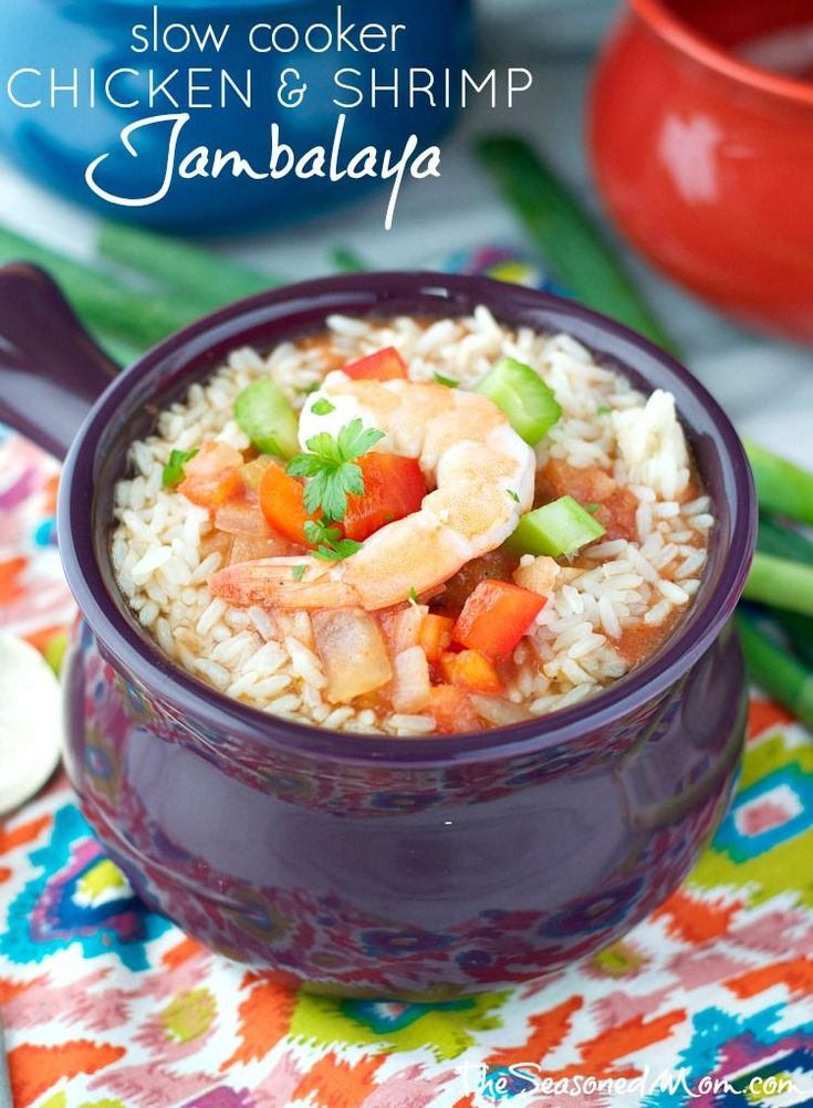 Whip out your slow cooker and pile in all these delicious and healthy ingredients to make this simple Chicken and Shrimp Jambalaya. #CrockPot #JamiesCleanEatingrecipes