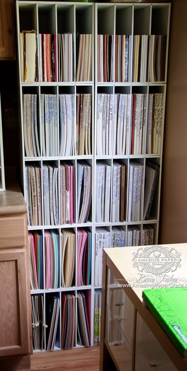 Amazing Paper Grace Paper Storage - This is the only space I have to store paper, and it's finally put away in storage cubes.  (Disclaimer - consult manufacturer for safe stacking limits and anchoring)